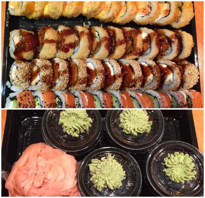 Versus siis Sushi Plaza neli rulli ja ingveri-wasabi kogus! Best sushi in town, for sure!